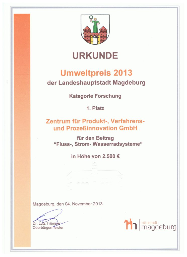 Urkunde des Umweltpreis 2013 der Stadt Magdeburg für die ZPVP GmbH